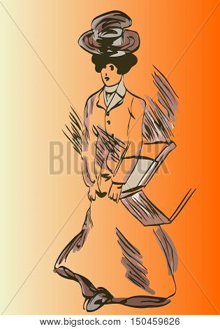 sketch of a woman with a hat on his head with a box in his hand a retro style on a background of orange gradient
