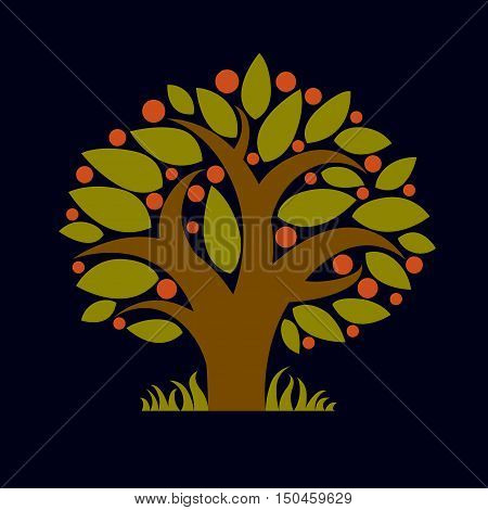 Tree with ripe apples harvest season theme illustration. Fruitfulness and fertility idea symbolic image.