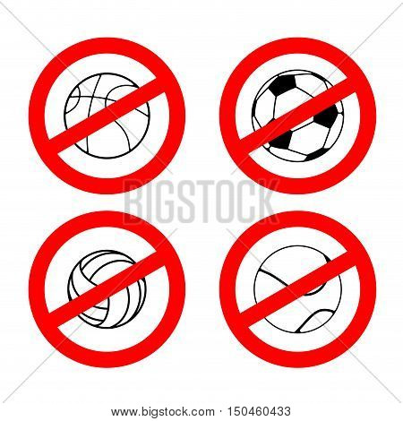 Stop Sport Games. Prohibited Football. Red Prohibition Sign Volleyball. Crossed Tennis Ball. Ban Bas