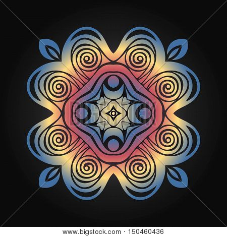 Round symmetrical pattern in blue white and fuchsia colors. Mandala.