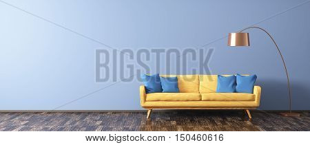 Modern Interior Of Living Room With Sofa And Floor Lamp 3D Rendering