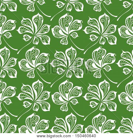Hand-drawn green and white nature boundless background.
