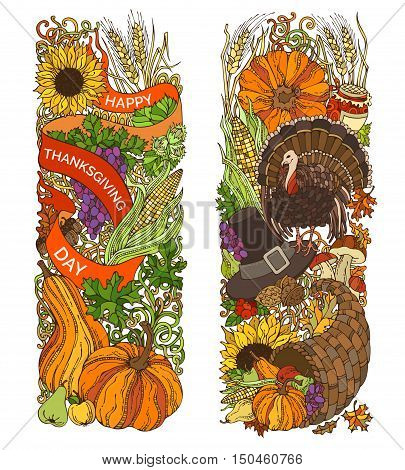 Vector Colourful Thanksgiving Vertical Ornaments Isolated On White Background.
