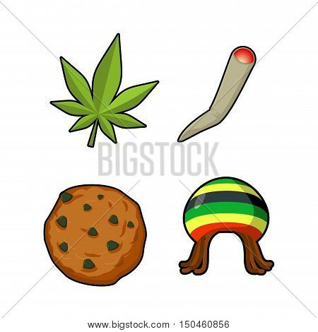 Rasta Icons Set. Green Leaf Of Marijuana And Cookie. Rastafarian Hat And Joint Or Spliff. Reggie Sig