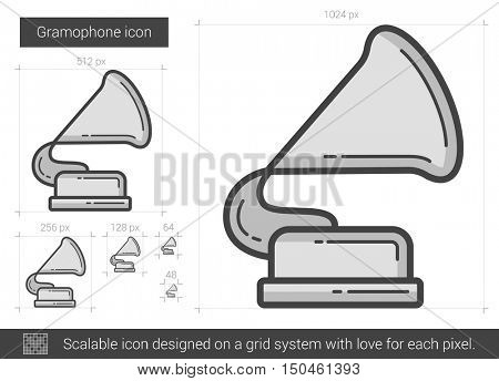 Gramophone vector line icon isolated on white background. Gramophone line icon for infographic, website or app. Scalable icon designed on a grid system.