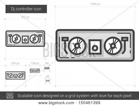 Dj controller vector line icon isolated on white background. Dj controller line icon for infographic, website or app. Scalable icon designed on a grid system.