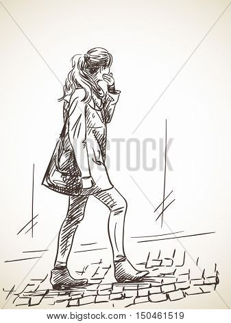 Sketch of woman walking on stone pavement Hand drawn illustration