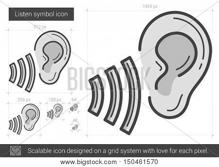Listen symbol vector line icon isolated on white background. Listen symbol line icon for infographic, website or app. Scalable icon designed on a grid system.