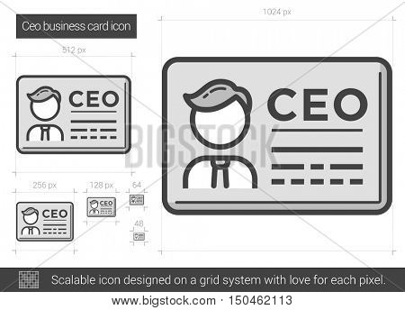 CEO business card vector line icon isolated on white background. CEO business card line icon for infographic, website or app. Scalable icon designed on a grid system.