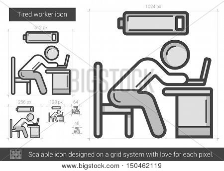 Tired worker vector line icon isolated on white background. Tired worker line icon for infographic, website or app. Scalable icon designed on a grid system.