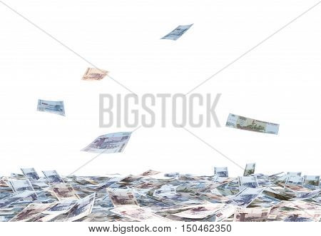 Heap of Russian Ruble bills and falling Russian Ruble bills isolated on white background. 3D illustration