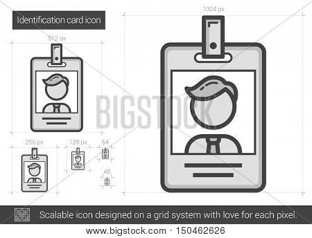 Identification card vector line icon isolated on white background. Identification card line icon for infographic, website or app. Scalable icon designed on a grid system.
