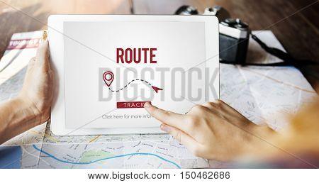 Route Navigate Location Planning Transportation Concept