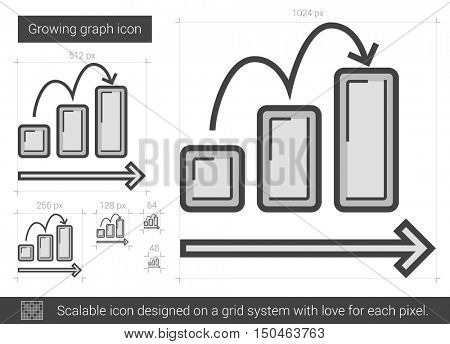Growing graph vector line icon isolated on white background. Growing graph line icon for infographic, website or app. Scalable icon designed on a grid system.