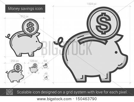 Money savings vector line icon isolated on white background. Money savings line icon for infographic, website or app. Scalable icon designed on a grid system.