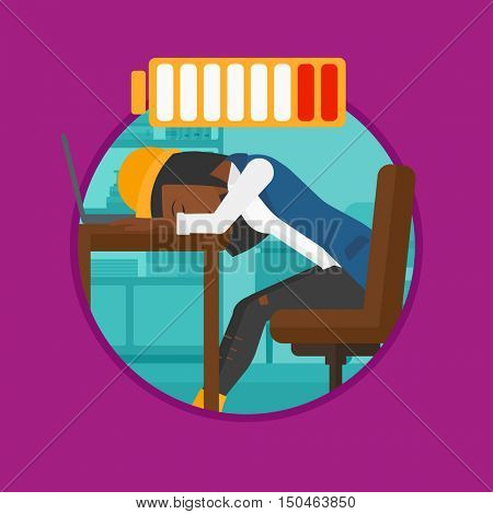 An african woman sleeping at workplace on laptop keyboard and low power battery sign over her head. Woman sleeping in office. Vector flat design illustration in the circle isolated on background.