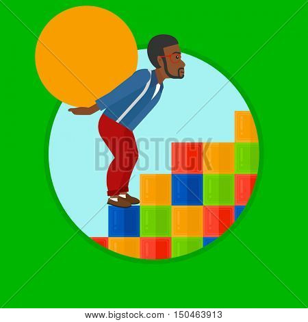 An african-american tired man rising up on the colored cubes and carrying a big stone on his back. Man with huge concrete ball. Vector flat design illustration in the circle isolated on background.