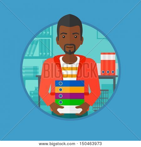 African-american man standing with pile of folders in the office. Office worker holding folders. Man carrying a stack of folders. Vector flat design illustration in the circle isolated on background.