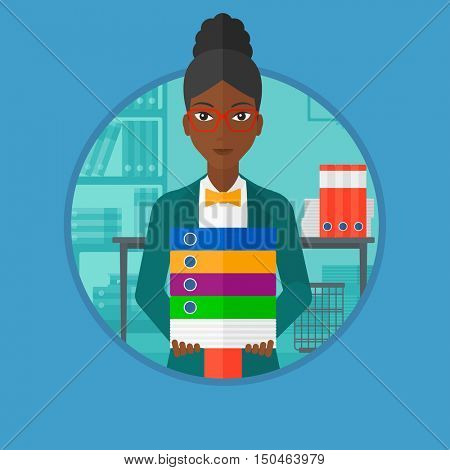 An african woman standing with pile of folders in office. Office worker holding folders. Businesswoman carrying stack of folders. Vector flat design illustration in the circle isolated on background.