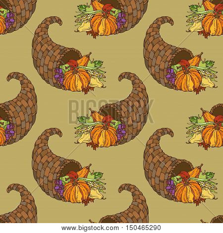 Vector Seamless Thanksgiving Pattern.
