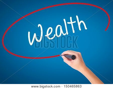Women Hand Writing Wealth With Black Marker On Visual Screen