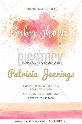 Gorgeous Watercolor Baby Shower Invitation