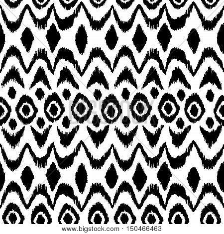 Ikat damask seamless pattern. Black diamonds on a white background. Vintage vector illustration.