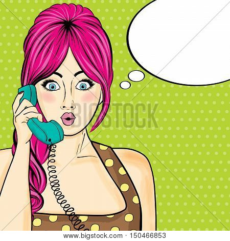 Pop Art  Woman Chatting On Retro Phone . Comic Woman With Speech Bubble