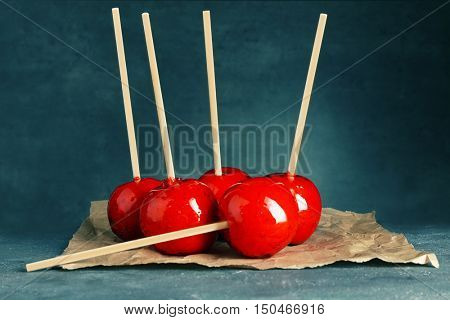 Toffee apples  on parchment paper