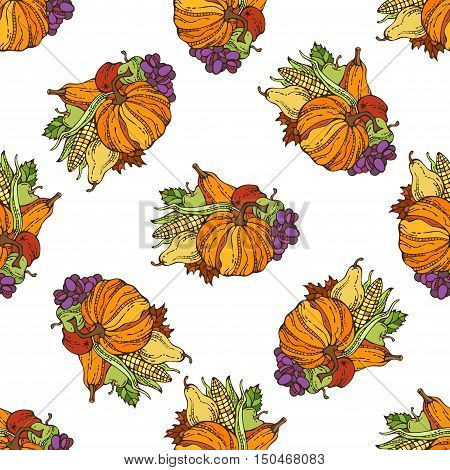 Vector Seamless Harvest Pattern.