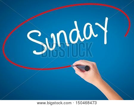 Women Hand Writing Sunday  With Black Marker On Visual Screen