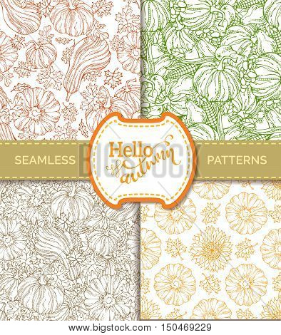 Vector Set Of Seamless Pumpkin Patterns.