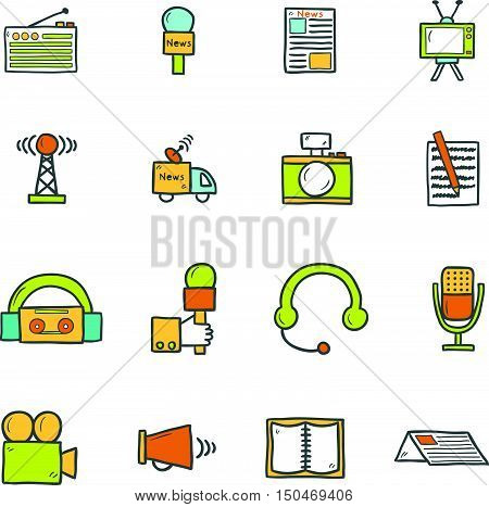 Vector illustration with hand drawn cartoon journalism icons. Mass media multimedia broadcasting objects. Vector illustration with newspaper video radio icons. Set of journalism pictogram poster