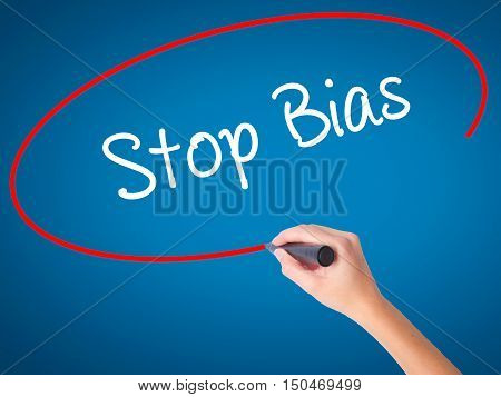 Women Hand Writing Stop Bias With Black Marker On Visual Screen