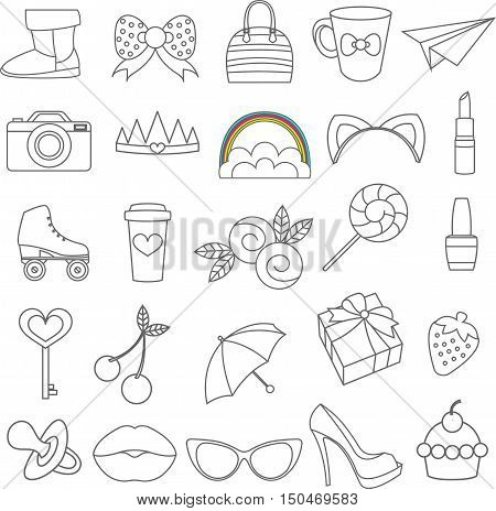 Vector isolated icons of glamor stickers and labeles set