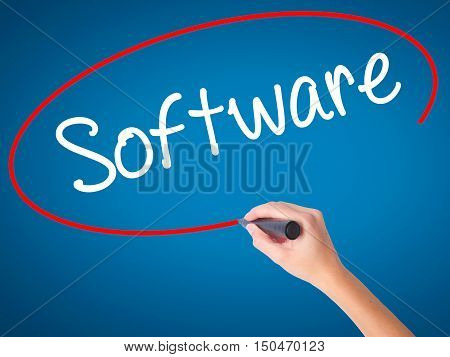 Women Hand Writing Software  With Black Marker On Visual Screen.
