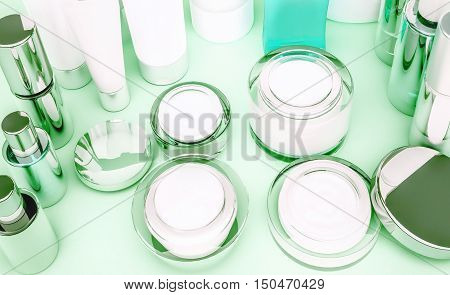 Set of cosmetic containers. Skin care products on green. 3D illustration