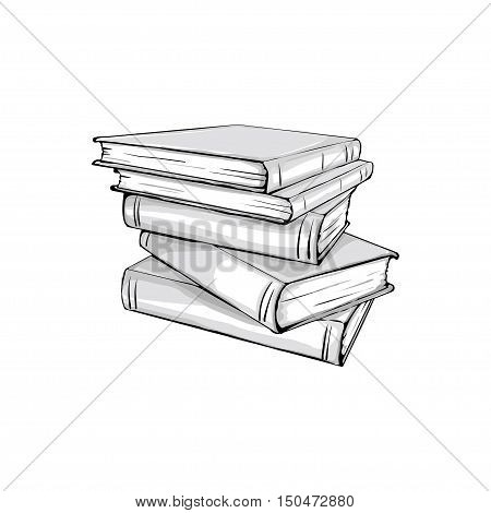 sketch of a stack of books. Opened and closed books stacked books and single book isolated on white background.
