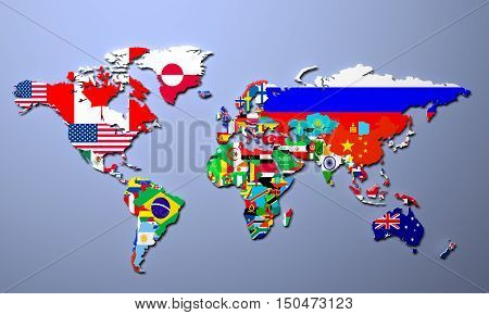 The World Map With All States And Their Flags 3D Illustration