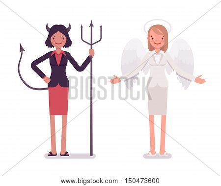 Set of female angel and devil in a formal wear. Cartoon vector flat-style illustration