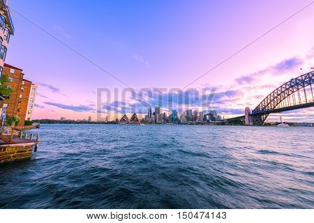 View of Sydney Habour Sydney Australia at sunset from Milsons Point. Oct 05,2016 Sydney Harbour Sydney Australia is beautiful meandering waterway,famous around the word.
