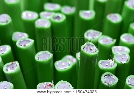 Group of green coaxial tv cables closeup