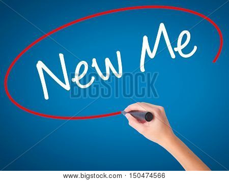 Women Hand Writing New Me With Black Marker On Visual Screen
