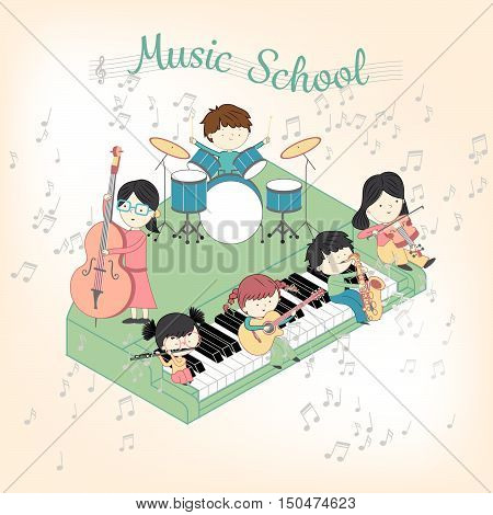 Children music school composition with boys and girls playing many instruments vector illustration set