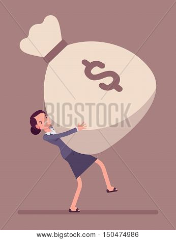 Businesswoman dragging a heavy giant money sack. Cartoon vector flat-style concept illustration