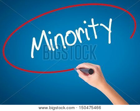 Women Hand Writing Minority With Black Marker On Visual Screen