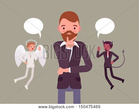 Angel and devil hovering over a thinking man, trying to make a choice, dialogue bubbles above. Cartoon vector flat-style concept illustration