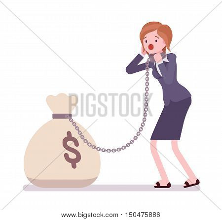 Businesswoman chained with a giant heavy money sack. Cartoon vector flat-style concept illustration