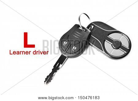 Learner driver. Car keys, isolated on white