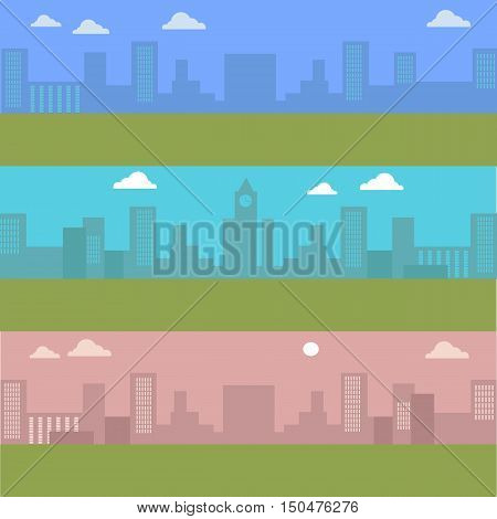 Set of urban cityscape with blue sky and white clouds. Silhouettes of buildings. Office buildings, building scenery, clock tower, urban landscape, urban background, city panorama vector illustration